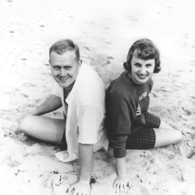 Jack and Barbara Nicklaus at the beach during college
