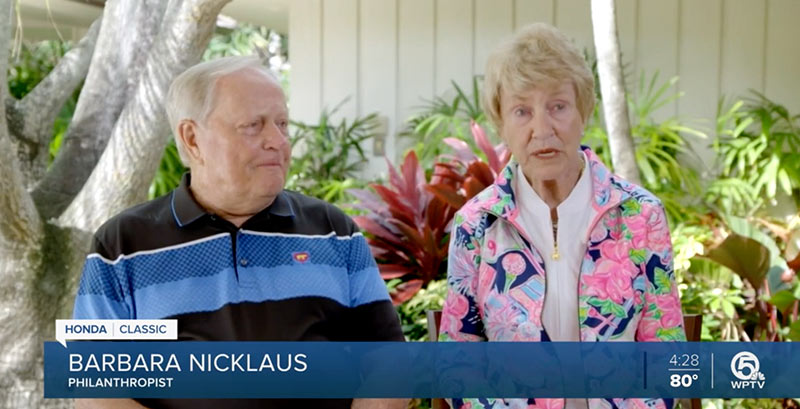 jack and barbara nicklaus being interviewed by wptv